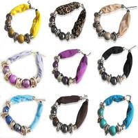 2014 New design! Women Short Beaded fabric ceramic choke Necklace Scarf Pendant jewerly scarf,fashion style collar scarfs