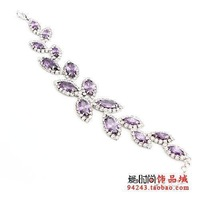 Neoglory accessories silver purple crystal blade bracelet jewelry female
