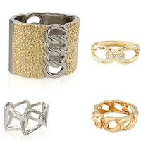 Punk Fashion Gothic Rock Crystal Twist Hollow Bowknot Wide Bracelets Cuff Bangle 62270-62273