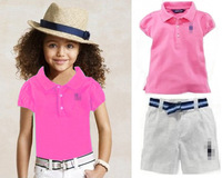 2014 HOT SALE fashion kids casual suit children's clothing summer brand high quality baby girls cotton polo t-shirt +shorts suit