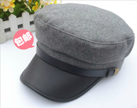 Double buckles woolen hat cadet cap navy cap warm hat cap