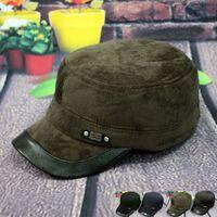 13 quinquagenarian male hat winter corduroy flat cap baseball cap thickening ear thermal cotton hat