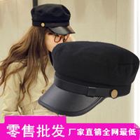 Leather hat brim buckle navy cap british style cadet cap captain hat student hat