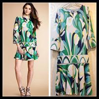 Free Shipping 2013 EPUCCI Summer WOMEN NEW ARRIVAL Fresh Garden Printed Sweet Lady Stretch Jersey Silk Dress