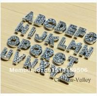 Free shipping !!!1300pcs 8mm A-Z 8MM full rhinestone slide letters DIY accessory