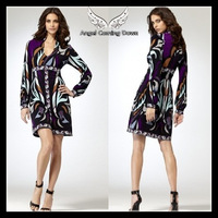 Free Shipping 2013 EPUCCI Women's Autumn Dress Lantern Sleeve Deep V-neck Sexy Charming Temperament Printed Stretch Jersey Dress