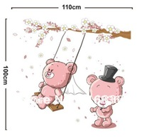 Free shipping 2013 new decorative cute pink bear play on the swing  wall stickers for home decoration diy PVC decal sticker