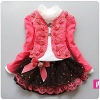 2013 New girl 3pcs clothing set knitted suit +lace shirt + bow tutu skirt children dress suits ,Three-piece suit(4sets/lot)