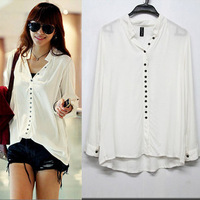Fashion Women's Long Sleeve V-Neck Many Buttons Casual Shirts Loose Blouse free shipping WD101707