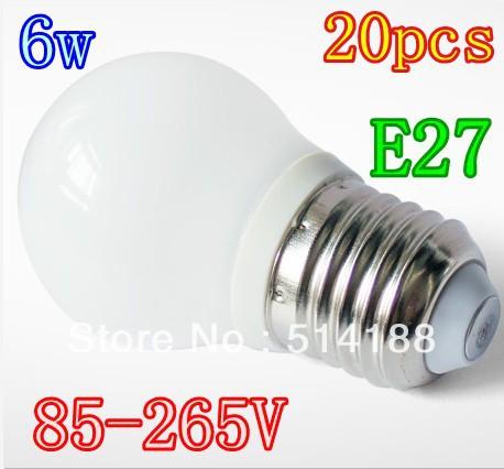 High Power led globe bulb E27 6W 85-265V LED Light LED Bubble Bulbs LED Spotlight lamp 20pcs lot(China (Mainland))
