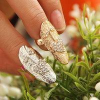 New Hot Gold&Silver Rhinestone Heart Shape Fake Nail Finger Ring, Personality  Leaves Inlay Finger Nail Rings Free Shipping