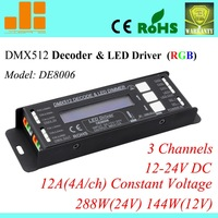 Free Shipping New2013 LCD display DMX Decoder 3ch RGB LED Controller DE 8006