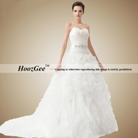 Free Shipping High-end Custom Ball Gown Sweetheart Organza Chapel Train Wedding Dress With Diamond/Feathers HoozGee-34068