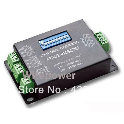 DMX 512 Decoder driver DMX512 PX24506 RGB controller for 12V 24V LED strip light(China (Mainland))