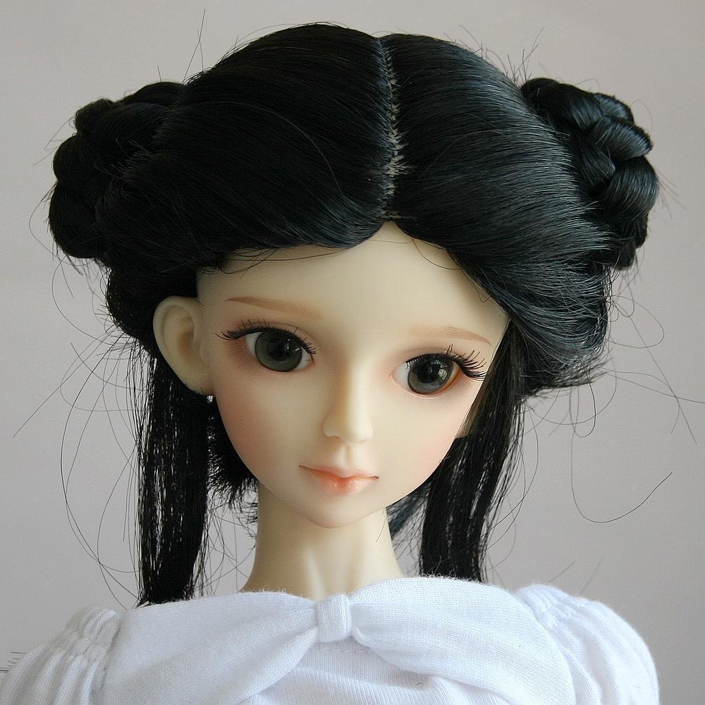 """[wamami] 42# Black Pigtail Wig 1/3 SD DZ AOD BJD Dollfie 8-9""""(China (Mainland))"""