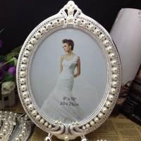 Luxury 8X10 Inch Ornate Oval Zinc Metal/Glass Portrait Photo Frame Silver Shadow Retro Photo Frame W/ Framed Pearls/Rhinestones