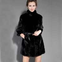 2013 New Fashion Natural  Mink Fur Women Coat  O-Neck Stand Neck Classics Black Fur Overcoats EMS Free Shipping