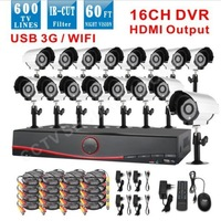 16pcs 600TVL with IR outdoor camera IR Weatherproof video Surveillance cctv security camera system + Home Security DVR Recorder
