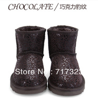 Free shipping 2013 winter warm genuine leather short snow boots, NEW HOT high quality Leopard grain design adornment of shoes