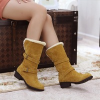 2013 New arrival Womens winter Buckle square heel snow boots Leisure sweet black brown boots