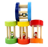 Novelty Infant mini beech rattles, child hand caught the bell wooden toy