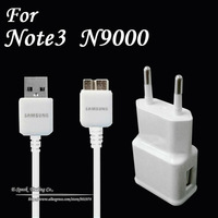 2 in 1 1M Micro USB 3.0 Data Sync Charging Adapter AC EU USB Wall Charger Kit For Samsung N9000 Note 3 50Set/lot Free Ship