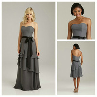 Elegant Sweetheart Black Bowknot Waist Gray Chiffon Long Modest Bridesmaid Dress 2013 Online