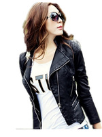 Free Shipping New Arrival 2014 Women Autumn Spring Pu Leather Jackets,Short Fashion Big Size Leather Coat M L XL XXL XXXL
