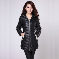 2013 women's wadded jacket medium-long cotton-padded jacket PU slim thickening cotton-padded jacket outerwear