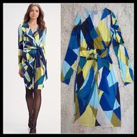Free Shipping 2012 EPUCCI Women New Geometric Hit color Plaid Printed Elegant V-neck Belt Dress