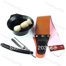 M65 Free Shipping 1 Set Classic Straight Razor Canvas Leather Sharpening Strop Brush Dish Shaving(China (Mainland))