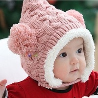 Plus velvet winter baby hat child knitting wool cap baby ear protector cap knitted beanie hat