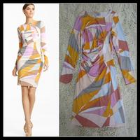 Free shipping 2013 EPUCCI Abstract Geometric print British Temperament Folds Slim Was thin Orange Stretch Jersey Silk Dress