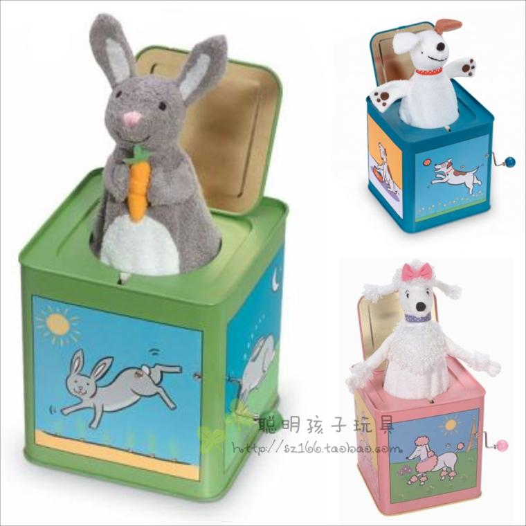 Fashion Classic Jack In The Box Tinplate Hand-cranked Music Box Toys, World Popular Animal Music Box, Rabbit Monkey Dog Sheep(China (Mainland))