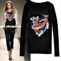 2012 gold cutout butterfly brief heart print slim elastic t-shirt Desinger Tops blouse T-shirt