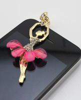 Cute Pretty Ballet Dancer Girl 3.5mm Headphone Jack Charm Dust Plug Ear Cap for iPhone 5,4,4s,iPod ,Samsung S4 S3 Free Shipping