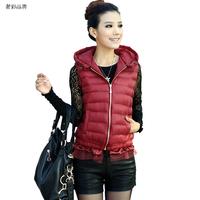 Corset ON Sale promotion Autumn 2013 women's vest autumn and winter fashion with a hood vest cotton down vest female  Cheap HOT