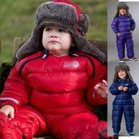 2013 winter new baby one piece child down coat down jacket pants romper winter romper for baby boy girls ski suit warm jacket