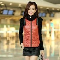 Corset ON Sale promotion 2013 autumn and winter PU thin vest gentlewomen fashion patchwork chiffon vest  Cheap HOT