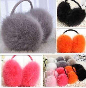 Cute Colorful High quality Faux Fur Fox Fur Alike Women Adult Ear warmer Earlap Wide Headband Winter Ear Muffs Free Shipping(China (Mainland))