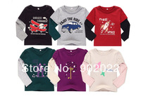 Free Shipping Children Kid cotton car plane and animal design printing 6 style  T shirt