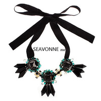 Christmas gifts  statement necklace black Silk ribbon crystal drop choker Necklace gothic style jewelry    N