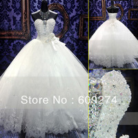 2014 Garden Vintage SWAROVSKI Wedding Dresses Sweetheart Tulle Crystals Lace Up Long Floor Length Backless Bridal Ball Gowns
