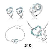 Fashion Accessories austrian crystal heart ring+necklace+earrings+bracelet women bride wedding Jewelry Sets