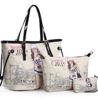 2013 women's handbag piece set picture package shoulder bag messenger bag big bag all-match women's bag