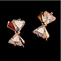 (Min Order $10 +Gift)+Free Shipping! Sweet diamond stereo Bow Earrings   E234