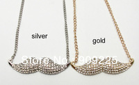 Hot Selling Cute Mustache Necklace. Wholesale Fashion Women Short Design Rhinestone Necklace. Beard Pendant Necklace