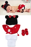 Retail 100%handmade Minnie knitted Baby Crochet Hats+skirts+pants+shoes, new born Christmas gift Baby photography,free shipping