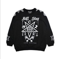 Harajuku five-pointed star killstar cross gauze patchwork sleeves loose bf women's sweatshirt