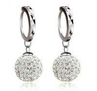 Free shipping Hot sell new arrival super shiny zircon inlay ball 925 sterling silver ladies`clip earrings jewelry 1pair/lot